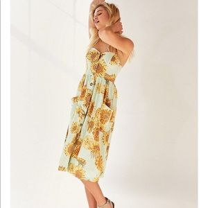 UO Emilia Linen Button Down Midi Dress